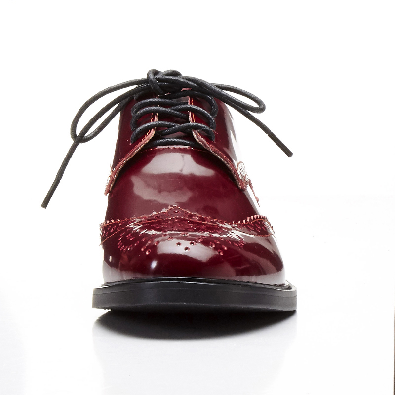 Noir vin Rouge Richelieu Cuir En Appartements Shehuimei Richelieus New À Main Occasionnels Chaussures Pour Femmes La Véritable Vintage Dentelle up 2018 xRBHBqUwO