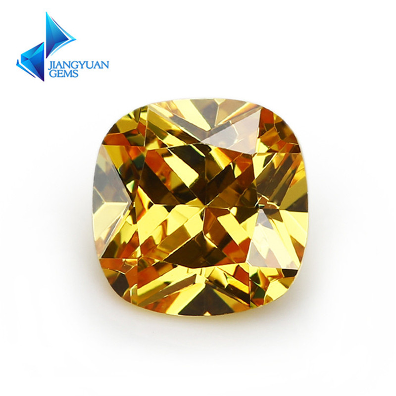 5x5~12x12mm Golden Yellow Color Cushion Cut Shape Loose CZ Stone Beads Brilliant Cut 5A Synthetic Gems Cubic Zirconia