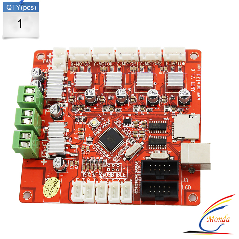 2017 Updated 3D Printer Control Motherboard for Anet V1.5 Printer Control Reprap Mendel for anet A8 3D Printed Main board reprap prusa mendel diy 3d printer robot main control chip atmega1284p au black