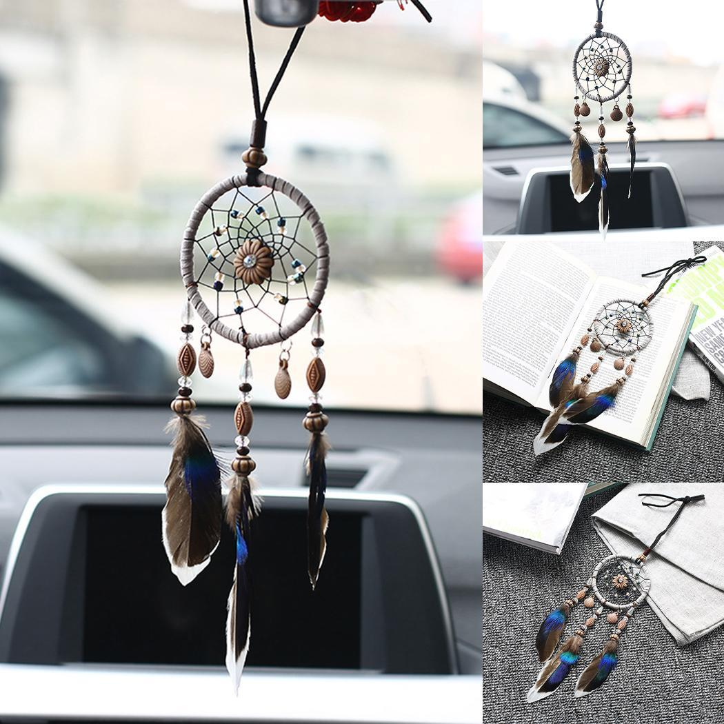 Feather Braided Hollow Car Hanging Decoration As Picture Dream Catcher