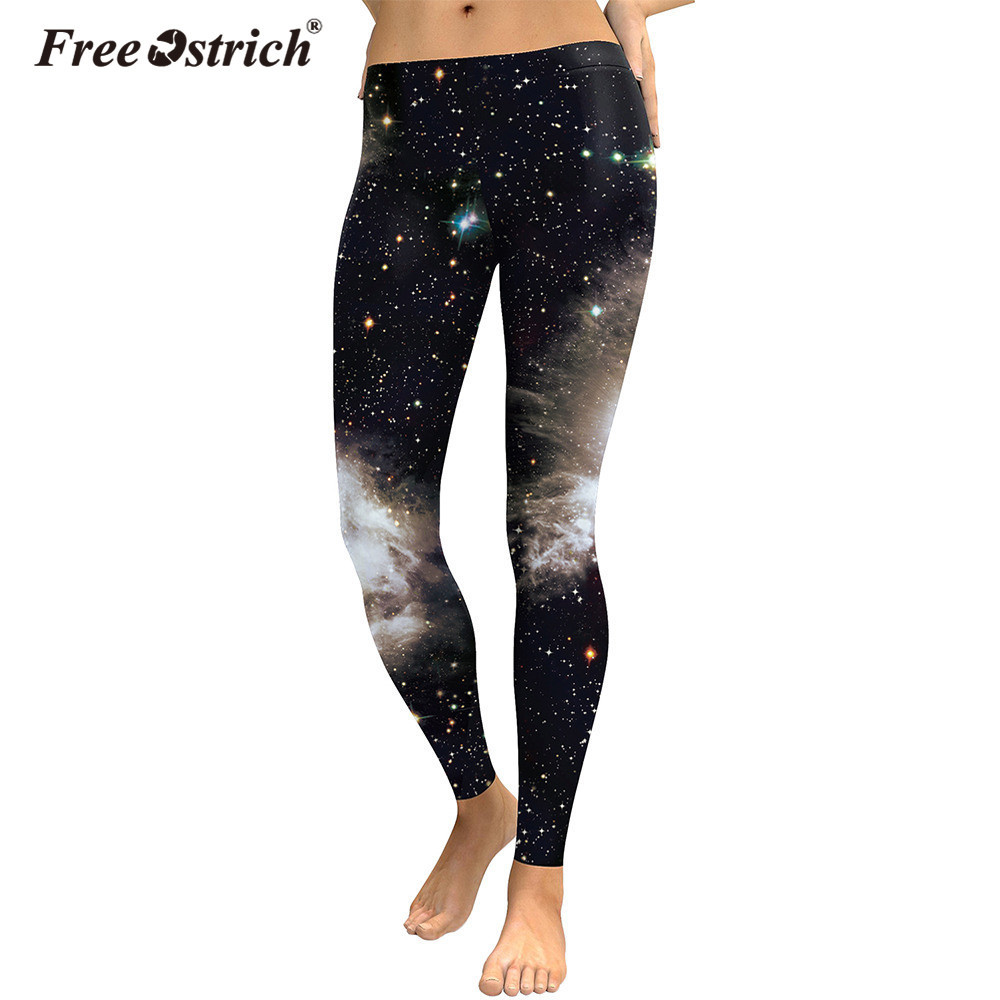 Free Ostrich 3D Digital Black White Galaxy Legins Casual Slim Sexy Leggins Printed Women Leggings Woman Pants L0630