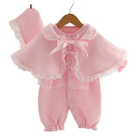 Baby Lace Rompers 3 Pieces Set New Infant Princess Style Party Dress Bebe Clothing Coveralls Newborn