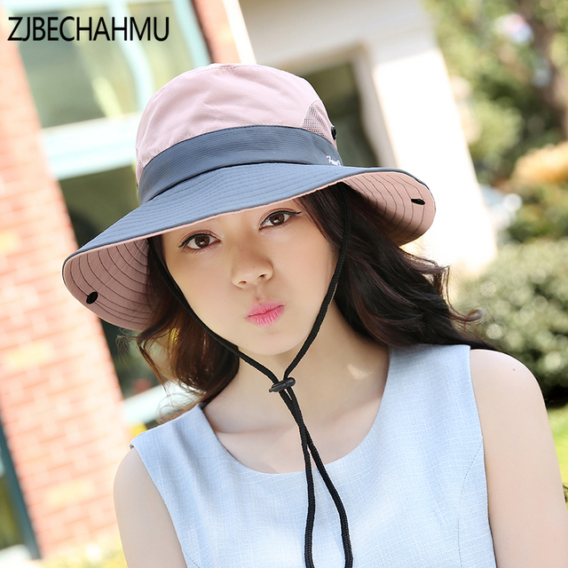 61600f0ac37 Sun Hat Solid Girls Bucket Hats women Summer Fishin Cap Wide Brim UV  Protection Flap Hat Breathable mesh bone gorras Beach hat