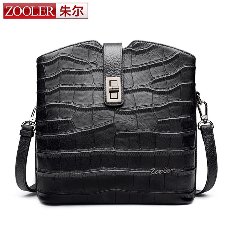 ZOOLER Women Bag Genuine Leather Crocodile Pattern Handbag Women Messenger Bags Crossbody Female Small Shoulder Bag Clutch Brand