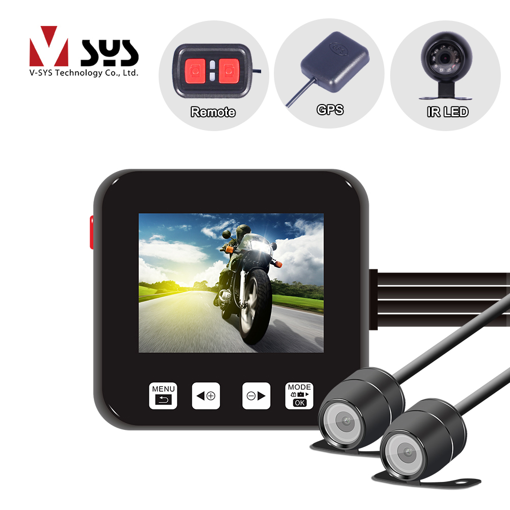 VSYS C6 Dual Lens Motorcycle Spots Camera DVR System Front + Rear Waterproof Cameras Recorder Dash Cam, GPS Night Vision Support spaghetti strap chiffon open back dress