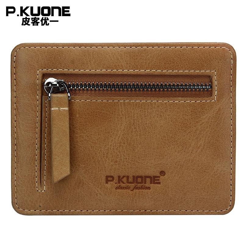 P. kuone высокое качество из натуральной кожи кошелек блокирование мини кошелек Защитите безопасный кредитной держатель для карт дизайнер меш...