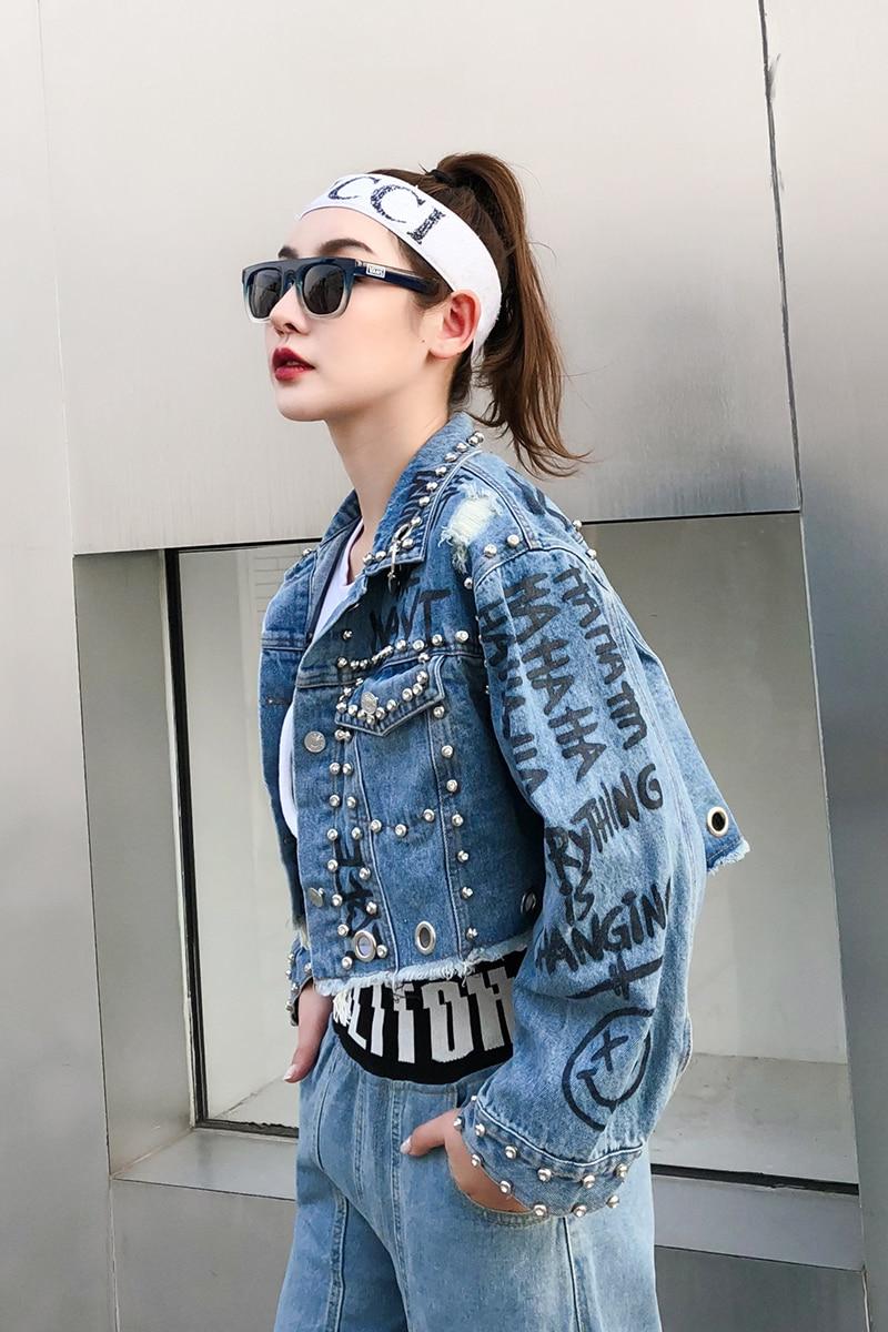 Alta Di Primavera Graffiti Vita Donne Jeans Rivetto Corto Allentato Nuovo Pelo Stile Anello Giacca Ferro Delle Lettera qSUCz1xwS