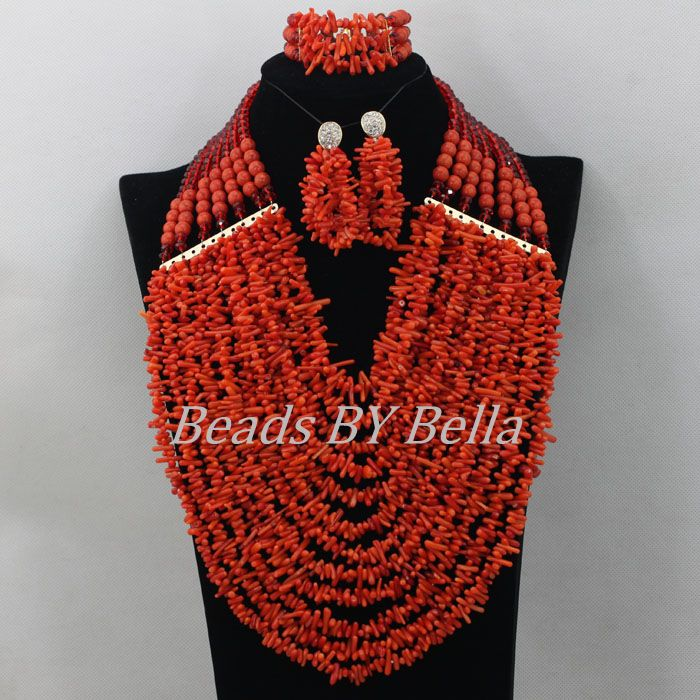 Chunky Layered African Wedding Beads Red Nigerian Coral Beads Necklace Jewelry Set Indian Bridal Jewelry Free Shipping ABF210 hyperbolic layered beads floral necklace for women