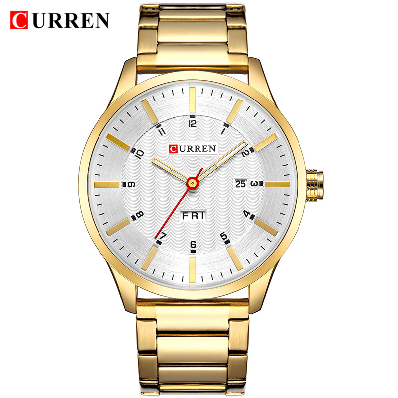 CURREN Top Luxury Brand Gold Men Watches Quartz Watch Men's Full Steel Business Watch Male Waterproof Fashion Date Analog Clock 2016 hot portable baby carrier re hold infant backpack kangaroo toddler sling mochila portabebe baby suspenders for newborn