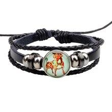 New twelve Constellation Bracelet  Round Glass Leather Braided Activity Dark Buckle Accessories Replaceable