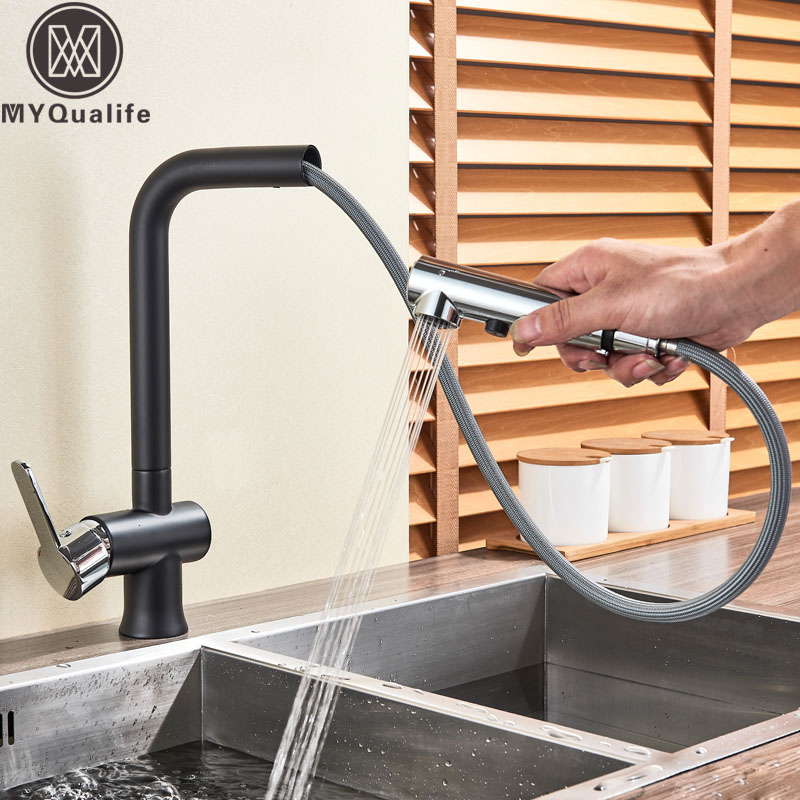 Deck Mounted Pull Out Spout Kitchen Faucet Single Handle Chrome Black Hot Cold Water for Kitchen 2 Funtions Stream Sprayer HeadDeck Mounted Pull Out Spout Kitchen Faucet Single Handle Chrome Black Hot Cold Water for Kitchen 2 Funtions Stream Sprayer Head