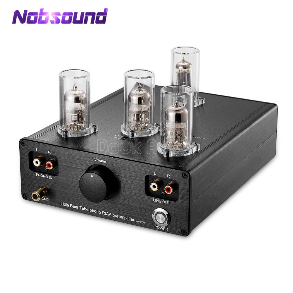 2019 Nobsound Latest Little Bear T11 6N2/12AX7 Vacuum Tube Phono Turntable Preamp HiFi Pre-Amp MM RIAA Phonograph Pre-amplifier 1pcs high quality little bear p5 stereo vacuum tube preamplifier audio hifi buffer pre amp diy new