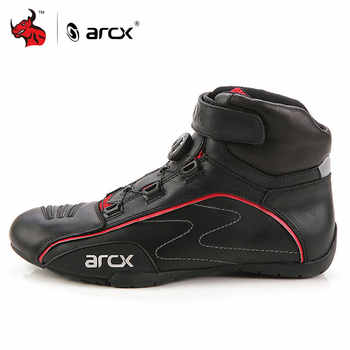 ARCX Motorcycle Boots Men Leather Moto Boots Street Moto Cruiser Touring Biker Motorbike Riding Boots With Tuning Knob Laces