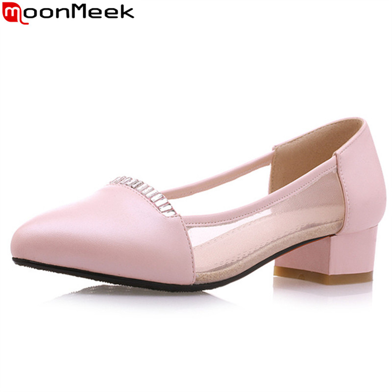 MoonMeek 2018 sexy female pumps high heel square heel pointed toe shallow slip on sweet pink purple colour women shoes moonmeek new arrive spring summer female pumps high heels pointed toe thin heel shallow party wedding flock pumps women shoes