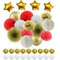 Красные белые золотые тканевые бумажные помпоны сотовые шары фонарики бумажный вентилятор фольга звезда и латексные шары для свадебных де...