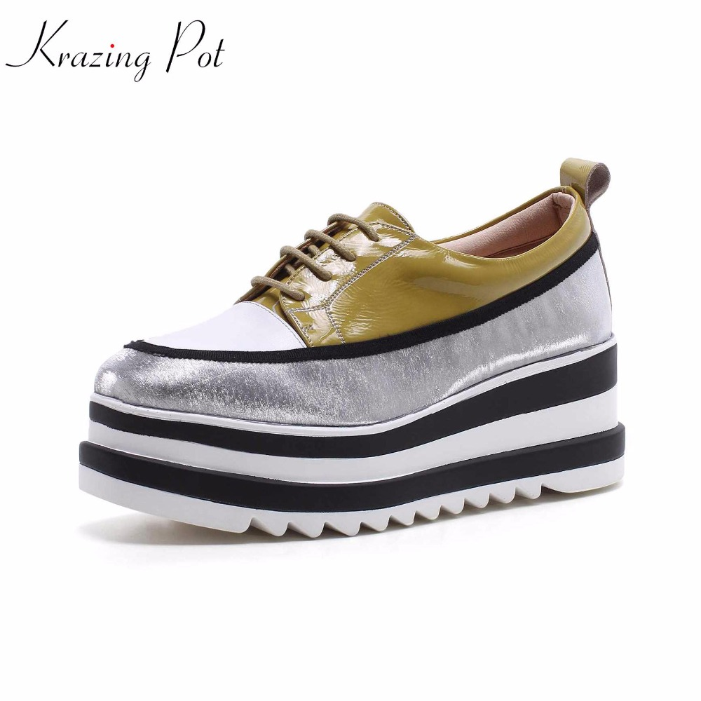 Krazing Pot cow patent leather shoes women round toe European original design thick bottom causal decoration long leg shoes L87