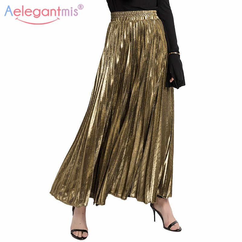 770a3b843fa57e Aelegantmis Autumn Winter High Waisted Skinny Long Pleated Skirt Women  Fashion Metallic Silver Maxi Skirts Ladies