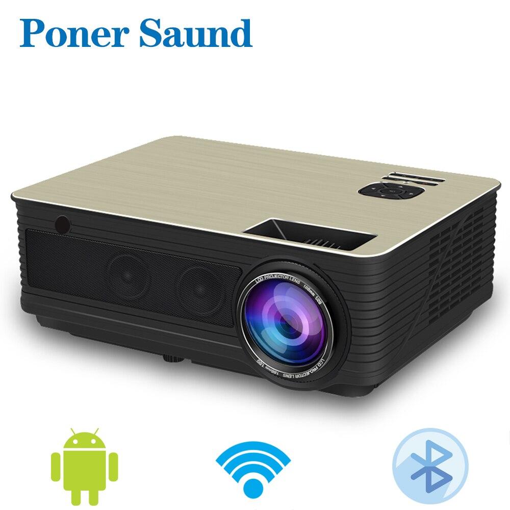 Poner Saund M5 3D Android Projetor 4500 Lumens LED Projetor Suporte Full HD 1080 P Proyector Projektor HDMI USB Wi-fi bluetooth