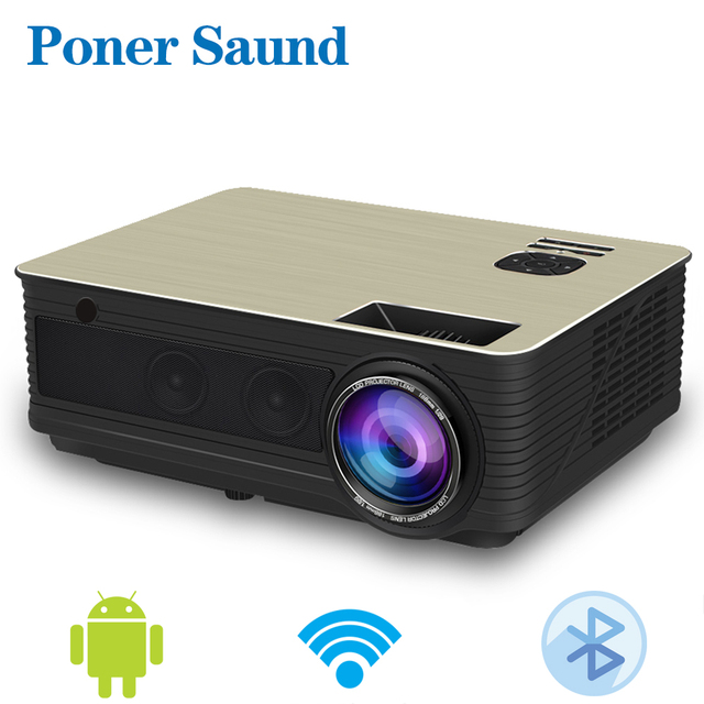 Poner Saund M5 LED Chiếu 3D Android Projetor 4500 Lumens Hỗ Trợ Đầy Đủ HD 1080 P Projektor HDMI USB WiFi Proyector bluetooth