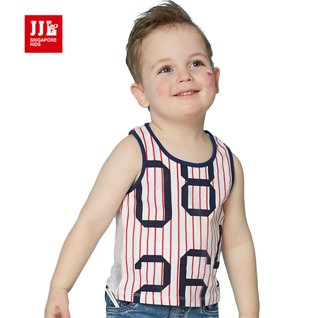 Fashion 2016 Summer New kid t shirt sleeveless sport casual baby boy clothes baby top Cotton+Net boy top brand quality