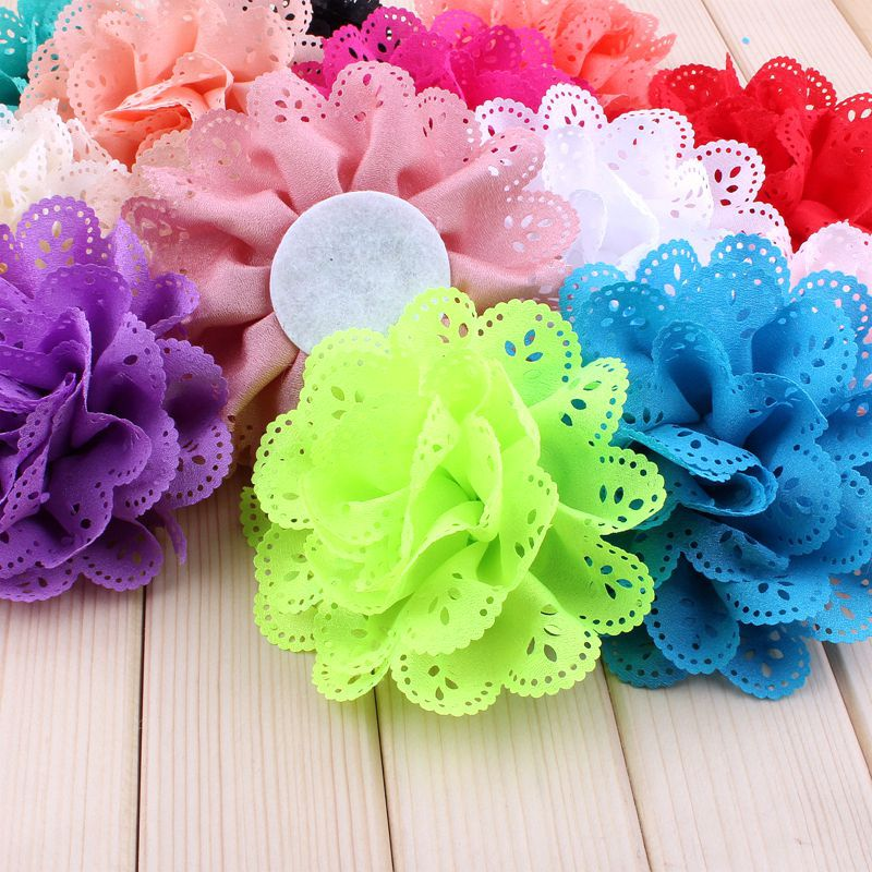 "120pcs/lot 4"" 15 Colors Fluffy Eyelet Silk Flowers For Chidlren Hair Accessories Artificial Fabric Flowers For Kids Headbands"