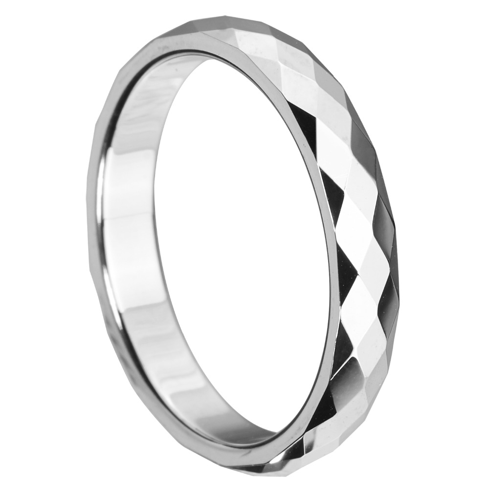 Polished Multi-Faceted Tungsten Carbide Promise Ring Anniversary Wedding Band Fashion Silver Jewelry