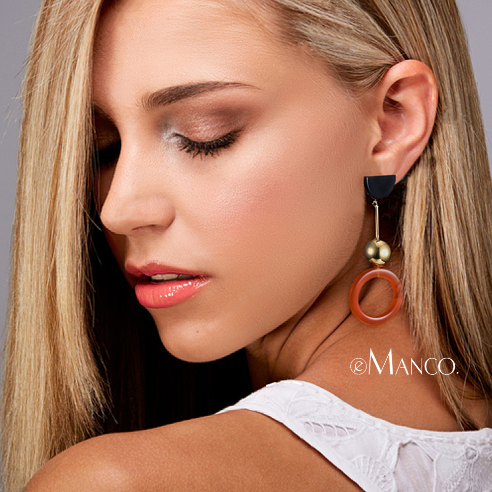 eManco Wholesale Acrylic Long Drop Earrings Coffee Color Beads Round Dangle Earrings 2018 New Arrivals Fashion Jewelry Accessory
