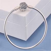 100% 925 Sterling Silver Rose Flowers Bracelet for Women Girls Leg bracelet cheville enkelbandje halhal tobillera