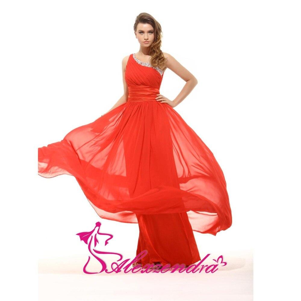 Alexzendra une ligne en mousseline de soie perlée une épaule robe de demoiselle d'honneur pour mariage longue robe de soirée robe de demoiselle d'honneur grande taille - 2