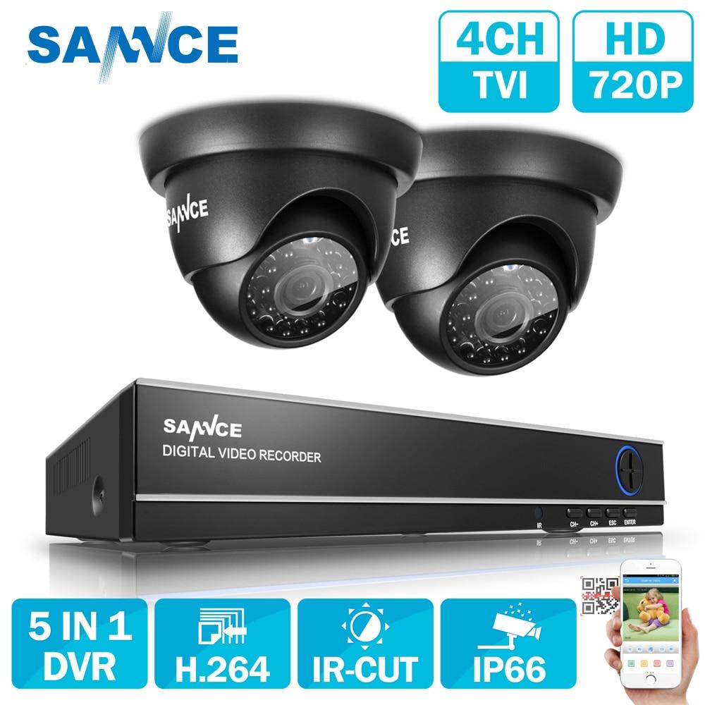 SANNCE 4CH 720P HD CCTV Системы 1080N HDMI 5IN1 DVR 2 шт. 1280TVL 1.0MP камер безопасности 720 P Главная видеонаблюдения комплект видеонаблюдения
