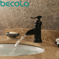 Becola Solid Brass Black Finish Basin Faucet Single Handle Tap Hot And Cold Bathroom Faucet Mixer