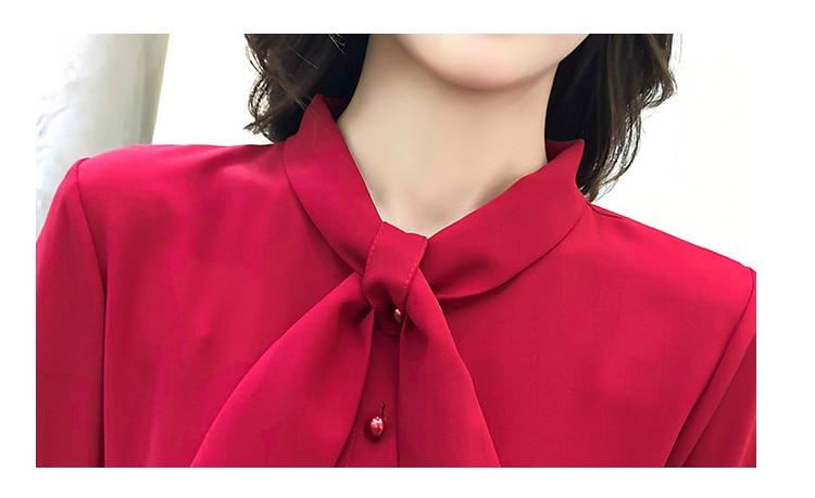fashion bow collar women dresses party night club dress 2019 new spring long sleeve solid chiffon dress women clothing B101 5