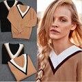 Envío gratis nueva moda de estilo mujeres con cuello en v suéter del resorte hizo punto largo manga del suéter de abrigo Pullover superior para mujer