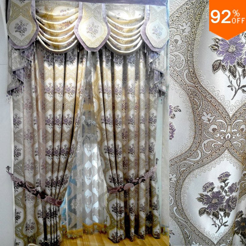 Embroid golden and beige and purple flowers suction curtain mosquito hotel magnetic curtain with magnets window wide 2 meter