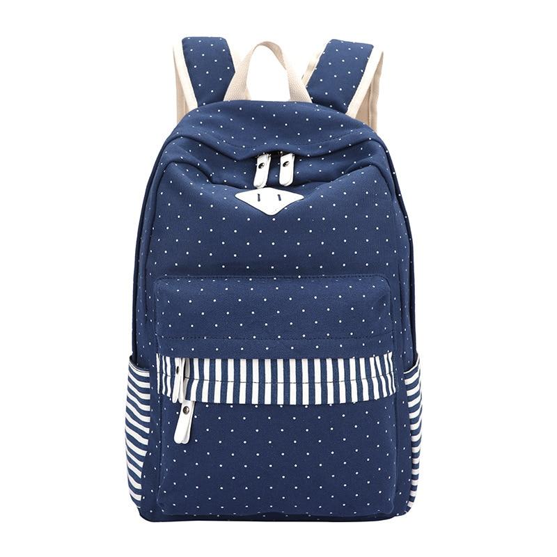 Ecoparty Women School Bags for Teenagers Girls Student Rucksack Mochila feminina Canvas Dot Fringe Printing Backpack