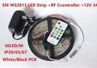 5 m DC12V ws2811ic endereçável 5050 RGB SMD ws2811 levou pixels tira, tira Flexível do DIODO EMISSOR com controle Remoto RF, kit adaptador de 12 V 3A