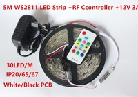 5m DC12V ws2811ic 5050 RGB SMD addressable ws2811 led pixels strip,Flexible LED strip with RF Remote control,12V 3A adapter kit