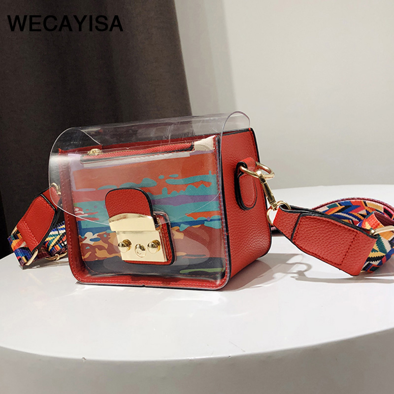 WECAYISA Hit the color summer new women wave personality small square bag female color broadband shoulder Messenger bag 2017 women bag female new winter fashion hit color double bread packet portable scrub small square messenger bag bolsa feminina