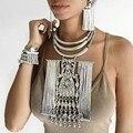 Grande aleación de las borlas del collar de la vendimia maxi collares collares y colgantes declaración choker collar mujeres joyería collier femme