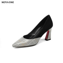 NEMAONE Genuine Leather Large Size 33-43 Square High Heels Shoes Woman Black Slip On Party Wedding Shoes Woman