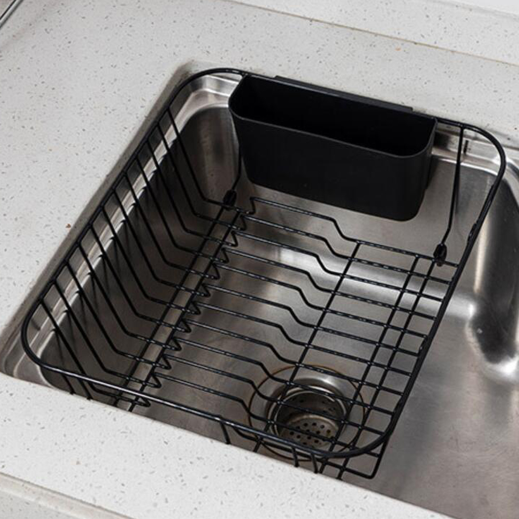 Over The Sink Dish Drying Rack.Us 21 68 19 Off Expandable Dish Drying Rack Over The Sink Sink Dish Drainer With Removable Utensil Holder Stainless Steel In Storage Baskets From