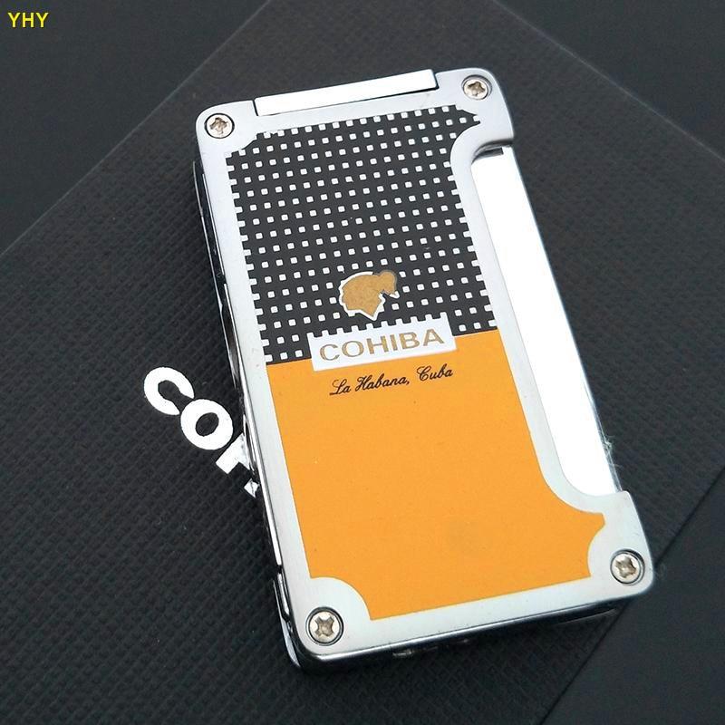 Cohiba haute qualité métal classique torche Jet cadre cigare allume-cigare couleur jaune avec poinçon de cigare