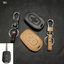 2017 New design car key chain key chain cover for Renault scenery 2 button leather key bag dust collector Renault auto parts