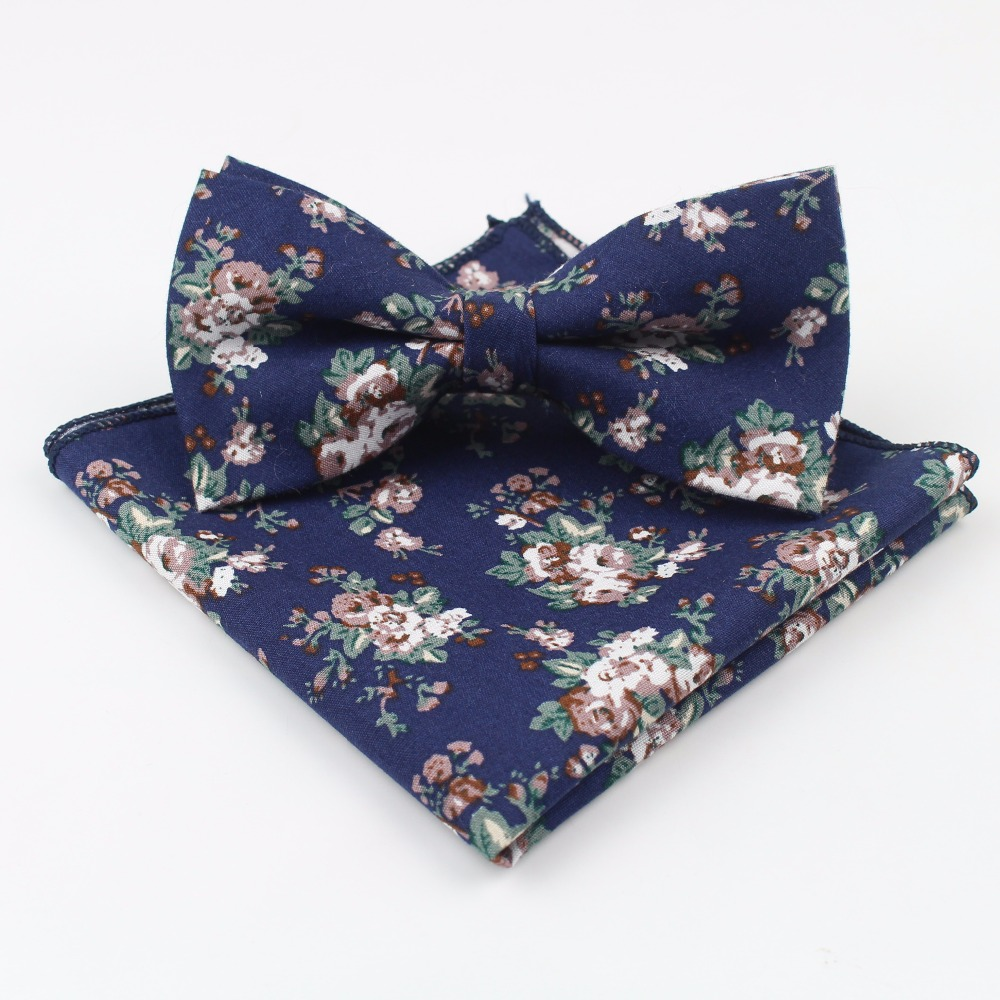Rose Narrow Bow Tie Hankerchief Set Cotton Textile Flower Paisley Butterfly Pocket Square Printing Floral Classic Skinny Ties