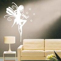 JJRUI Wall Decal Naklejki Winylu Przedszkola Dzieci Dziecko Flower Fairy Anioł Gwiazda 31.5x39.4in Mucha cytat naklejka 21 KOLOR