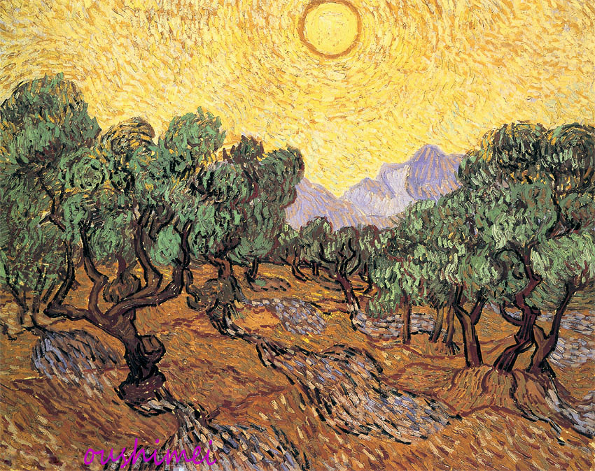 Wholesale Handmade Olive Garden In The Mountain Under The Sunshine Oil Paining On Canvas By