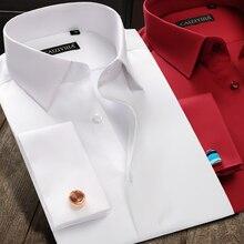 新しい高級シルケット綿フレンチカフスボタンシャツ長袖男性の結婚式のシャツ高品質ドレスシャツカフス