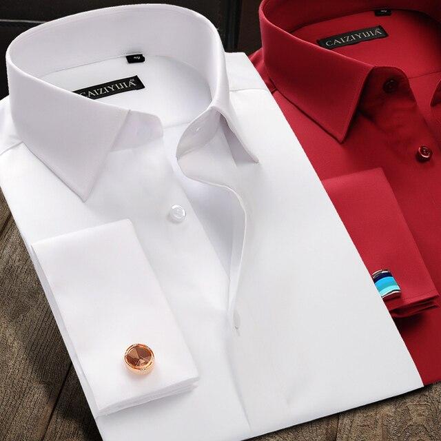 Рубашка мужская с французскими манжетами, роскошная Свадебная сорочка из мерсеризованного хлопка с длинными рукавами, Классическая с запонками