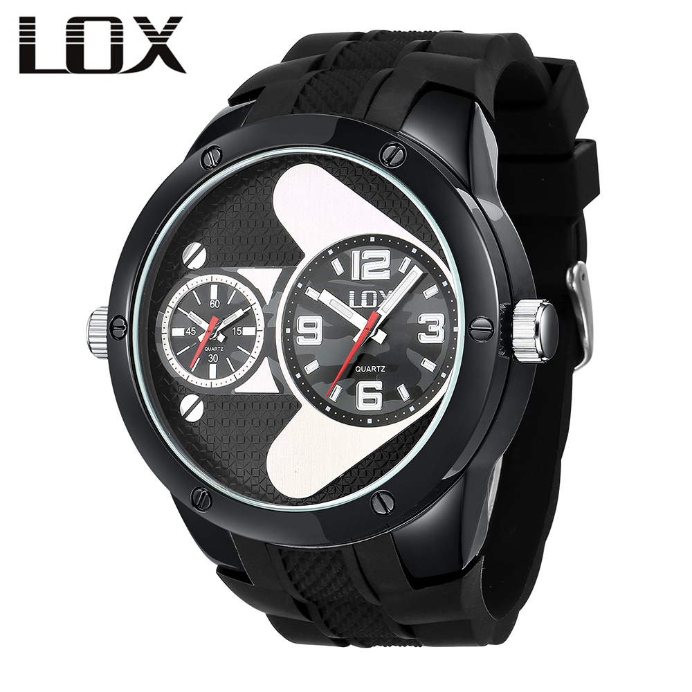 LOX Mens Watches Top Brand Luxury Double Time Zone Fashion & Casual Quartz Wristwatch Clock Men Reloj Hombre Montre Homme reloj hombre bosck brand men s watches men fashion casual sport quartz watch mens business wrist watches man clock montre homme