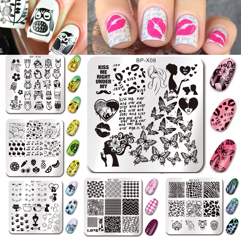 BORN PRETTY 15Pcs Nail Stamping Plate Square Animal Manicure Geometry Nail Art Stamp Image Print Template Stencils Tool Set 4pcs christmas halloween owl 4 design stainless steel nail plates nail art image konad print stamp stamping manicure template